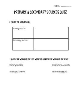 Primary & Secondary Sources Quiz