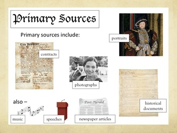 Primary & Secondary Sources Simplified –PPT + Printables bundle