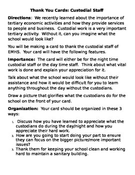 Primary, Secondary, Tertiary, Quaternary Activity Chart AND Thank a Custodian