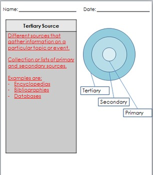 Primary, Secondary, and Tertiary Sources