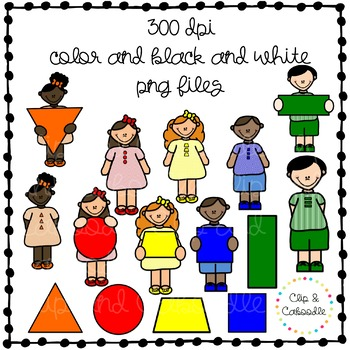 Primary Shape Kids Clipart {Personal and Commercial Use}