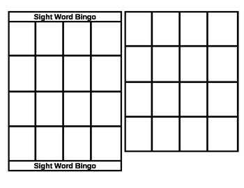 Primary Sight Word Bingo Template