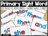 Primary Sight Word Cards (EDITABLE)