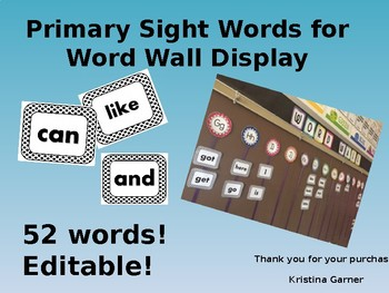 Primary Sight Words for Word Wall Display