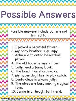 Primary-Descriptive Simple Sentences with Adjectives: Construct a Sentence