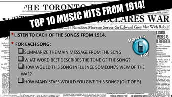 World War 1 Begins: Music Hits of 1914!  A Listen and Learn Activity