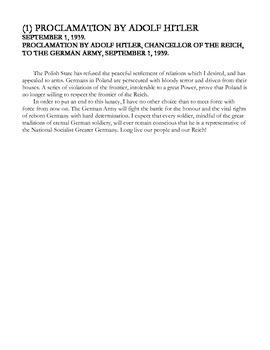Primary Source Activity World War II