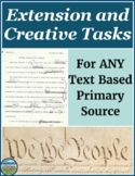 Primary Source Analysis Extension and Creative Tasks