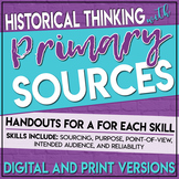 Primary Source Analysis Handouts Historical Thinking Skills Print and Digital