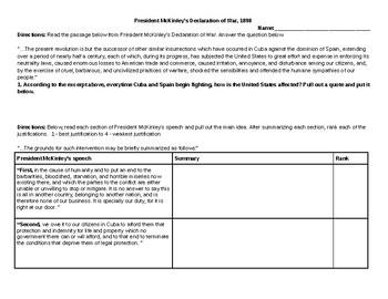 Primary Source Analysis: President McKinley's Declaration of War