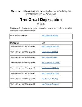 Primary Source Analysis Resource: The Great Depression Photographs