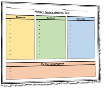 Primary Source Analysis Tool Template Differentiated