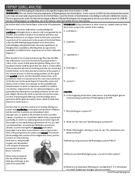 Washington's Thanksgiving Proclamation Primary Source Analysis