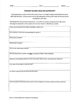 Primary Source Analysis Worksheet