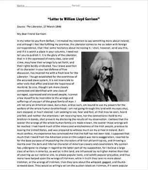 Primary Source Bundle: Frederick Douglass's Letter to William Lloyd Garrison