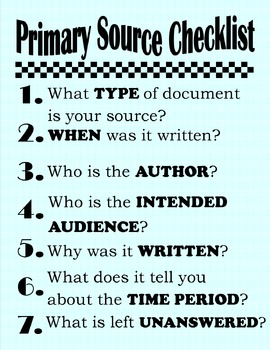 Primary Source Checklist