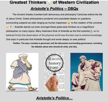 Primary Source DBQ -- Aristotle's Political Philosophy -- World History