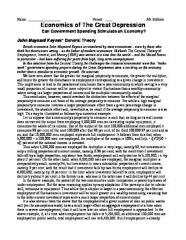 Primary Source Economics Readings