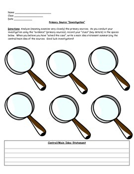 Primary Source Investigation Student Sheet