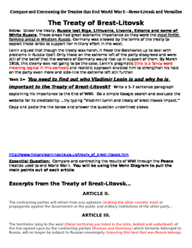 Primary Source--Treaties that End WWI Activity