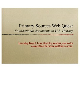 Primary Sources in U.S. History Webquest- Gettysburg Address* Google Like a Pro!