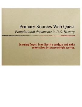 Primary Sources in U.S. History Webquest- Gettysburg Addre
