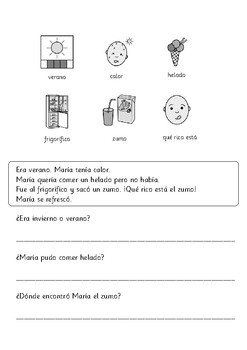 Primary Spanish Reading. Short Passages with Questions and Visual Support.