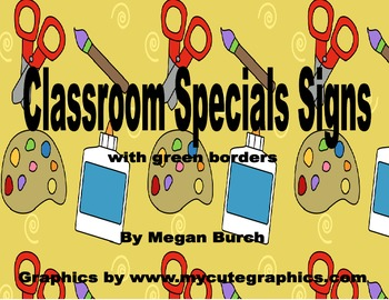 """Primary """"Special"""" (gym, music, art, library, computer) Class Posters - green"""