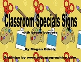"Primary ""Special"" (gym, music, art, library, computer) Class Posters - green"