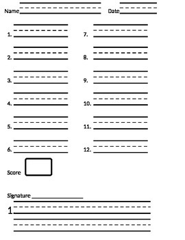 Primary Spelling Test Paper