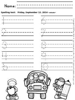Primary Spelling Test Papers (editable) {FREEBIE}