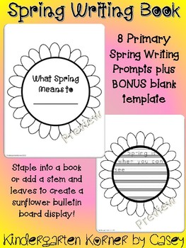 Primary Spring Sunflower Writing Book Kindergarten 1st NO PREP