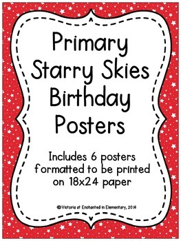 Primary Starry Skies Birthday Posters