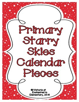 Primary Starry Skies Calendar Numbers, Months and Days