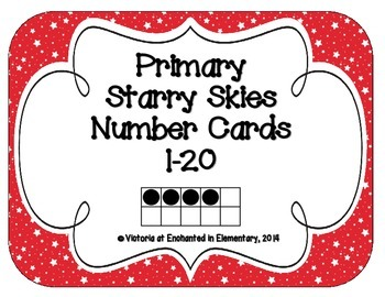 Primary Starry Skies Number Cards 1-20