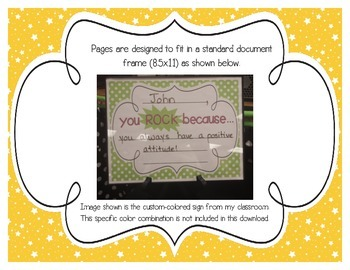 """Primary Starry Skies """"you ROCK because..."""" Student Recognition Signs"""