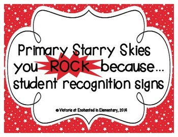 "Primary Starry Skies ""you ROCK because..."" Student Recognition Signs"
