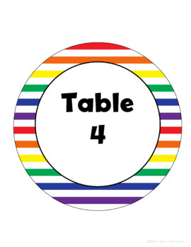 Primary Stripe Table Signs