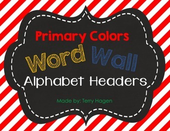 Primary Stripes Alphabet Word Wall Headers