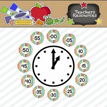Primary Stripes Clock Numbers
