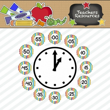 Primary Stripes Clock Numbers