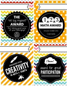 Elementary Behaviour Awards & Acheivement Certificates