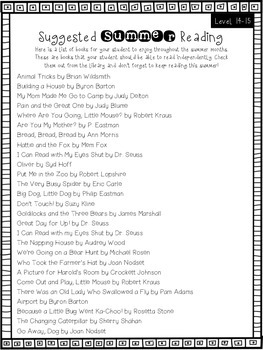 Primary Summer Reading Lists {Level 10-24/G-M}
