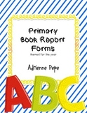 Primary Themed Book Report Forms