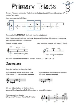 Primary Triad Explanation Sheet