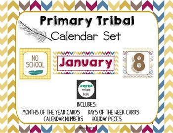 Primary Tribal Classroom Calendar Bundle