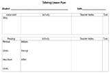 Primary Tutoring Lesson Plan Template
