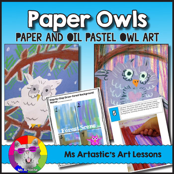 Owl Art Lesson, Paper and Oil Pastel