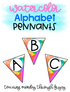 Primary Water Color Alphabet Pennants