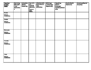 Primary Weekly Lesson Plan Template